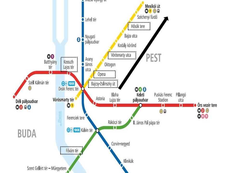 布達佩斯捷運景點地圖