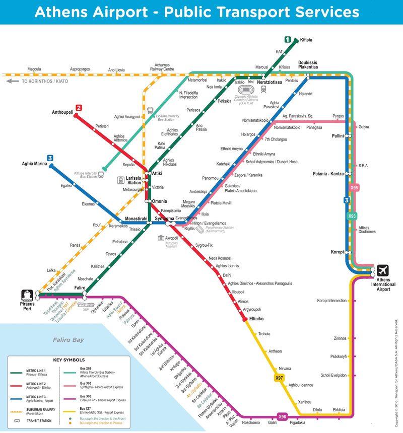 雅典市區交通路線圖