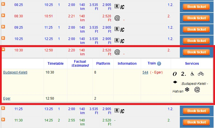 匈牙利國鐵時刻表