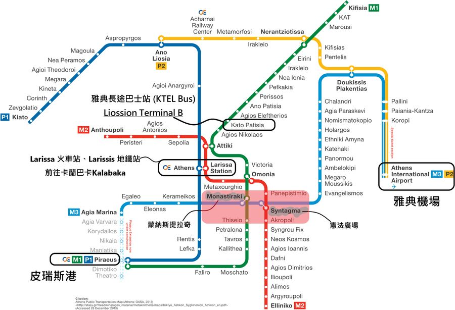雅典地鐵圖Metro map of Athens,清楚標註主要地鐵站、火車站、景點區域、可前往卡蘭巴卡的火車站與巴士站KTEL Bus Terminal B。
