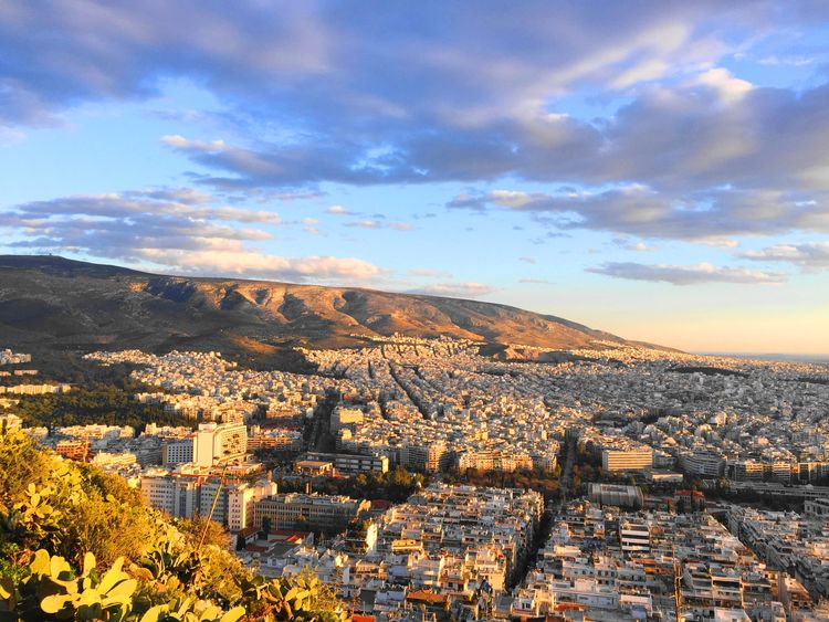 Sunset of Lykavittos Hill in Athens.