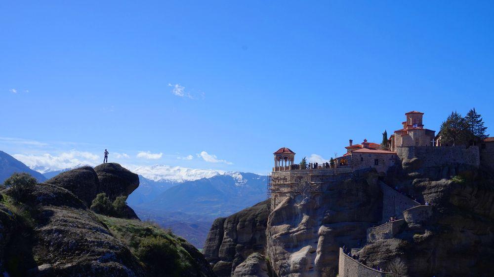 梅特歐拉Meteora修道院:大梅特歐拉道院 Great Meteoron Monastery.最大最古老的修道院,聽說第二難爬。