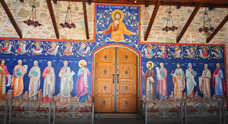 梅特歐拉Meteora-大梅特歐羅修道院,耶穌與12門徒壁畫。