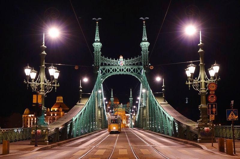 布達佩斯自由橋 Liberty Bridge,最適合帶上啤酒坐在橋上聊天看夜景,有時舉辦封橋活動,可以在橋上Party、野餐,行人專屬。