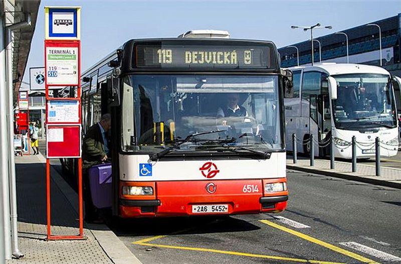 布拉格機場巴士119號前往地鐵站,轉地鐵去市區很方便。