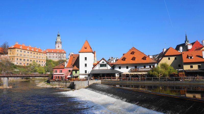 CK小鎮-伏爾塔瓦河 Vltava River與商家