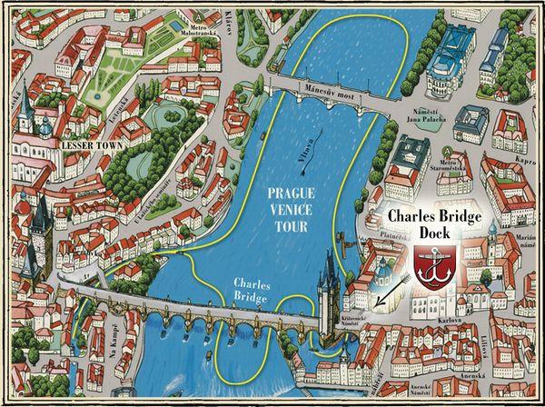 布拉格威尼斯遊船:Prage Boat Trip 航行路線圖。