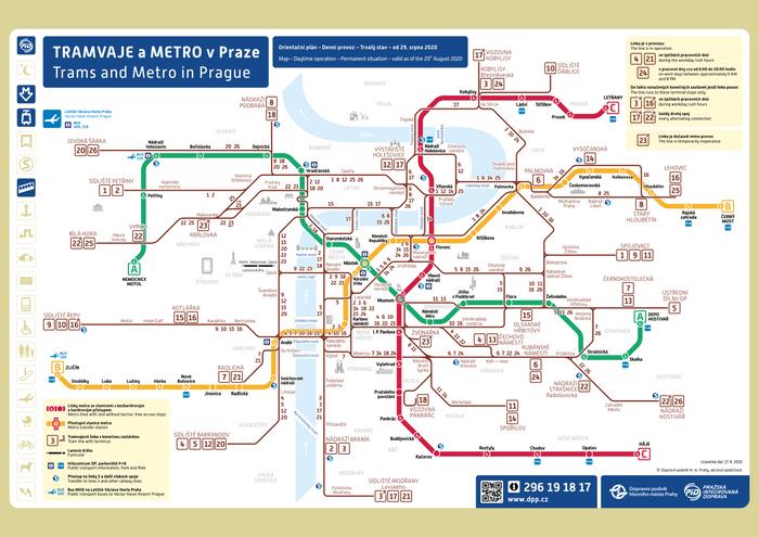布拉格Prague地鐵(Metro)、路面輕軌(Trams)圖