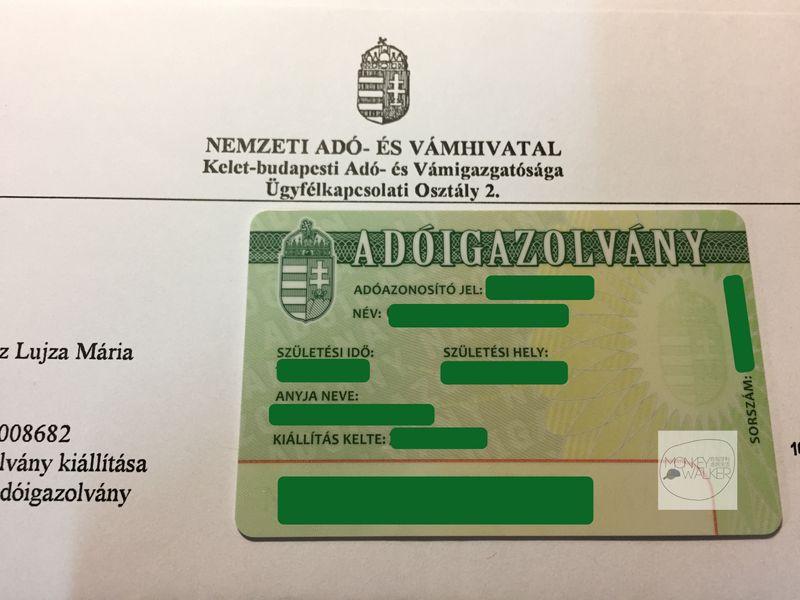匈牙利打工度假工作一定要申請的稅卡(可能3個月或更久才會收到)