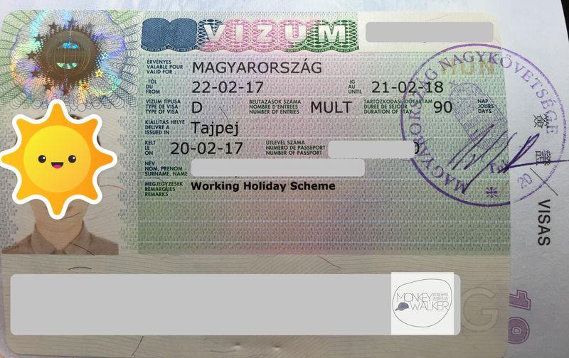 匈牙利打工度假簽證頁