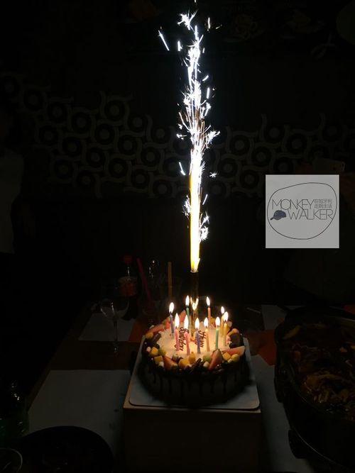 布達佩除夕新年上班,順便一起替匈牙利同事慶生,這蠟燭根本是火樹銀花。