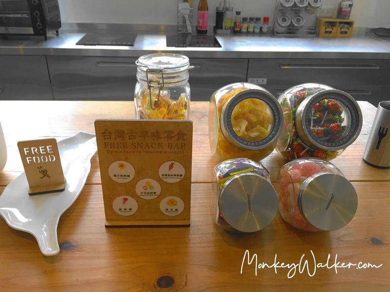 Star Hostel信星旅店台北車站,免費提供古早味零食。