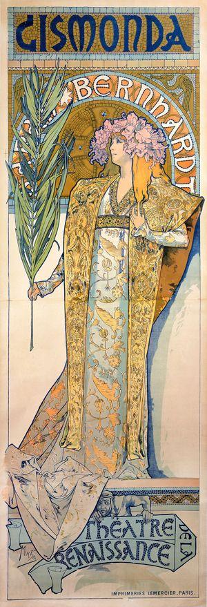 慕夏在巴黎的成名之作-1894年的舞台劇吉絲夢妲(Gismonda)宣傳海報。