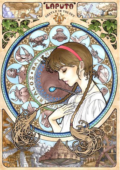 日本插畫家Takumi-向慕夏致敬:吉卜力電影中的天空之城。