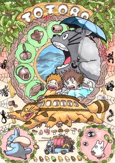 日本插畫家Takumi-向慕夏致敬:吉卜力電影中的龍貓。