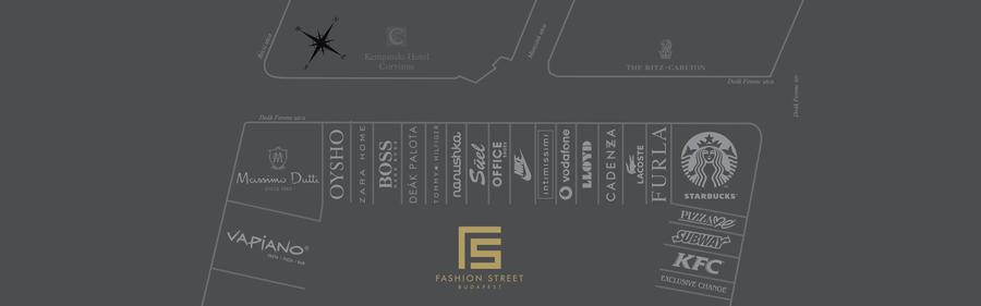 布達佩斯的逛街地方-Fashion Street品牌進駐圖。