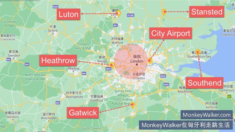 英國倫敦機場分布圖