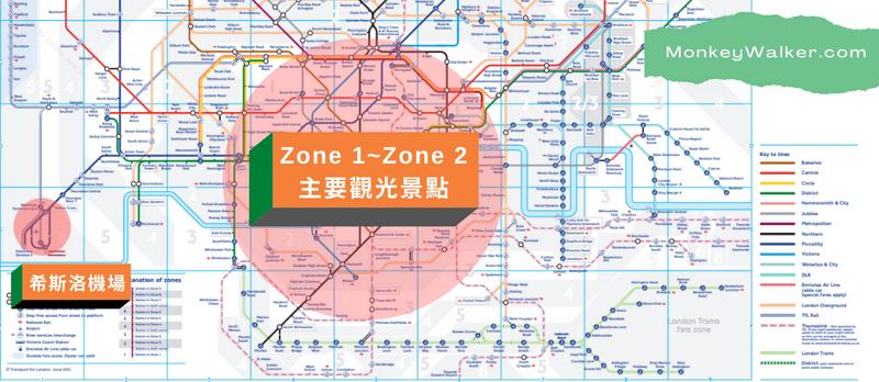 倫敦區域(Zone 1~ Zone 9)地鐵圖,主要景點集中在一、二區