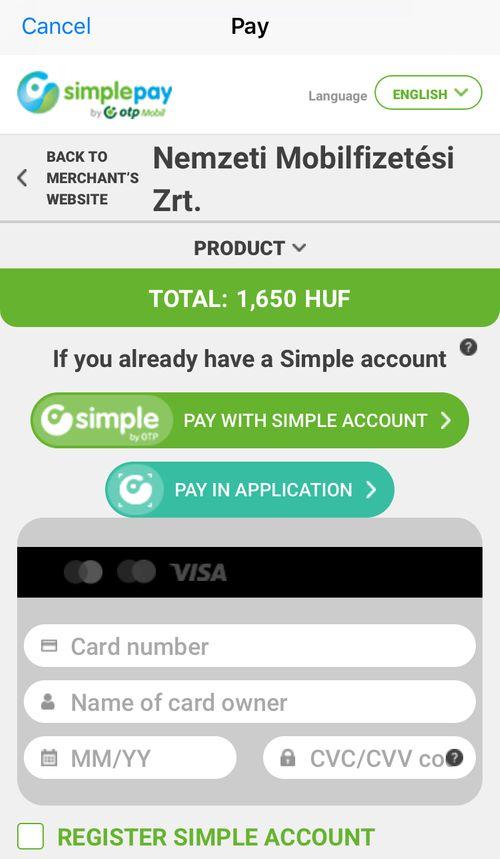 布達佩斯交通卡App最後前往信用卡平台刷卡就可以囉!