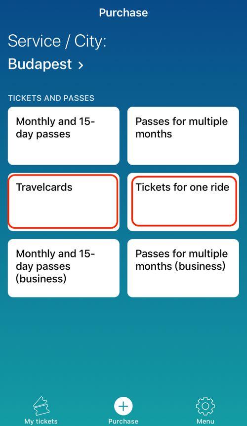 一般觀光客透過布達佩斯交通卡App買票,主要看Travelcard、Tickets for one ride這兩項就可以。
