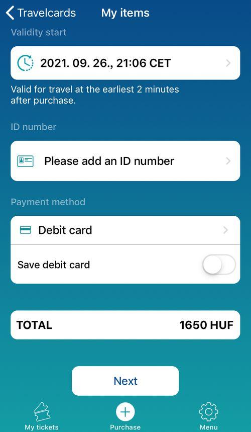 布達佩斯交通卡App,依照系統指示勾選日期、身份ID就可以。