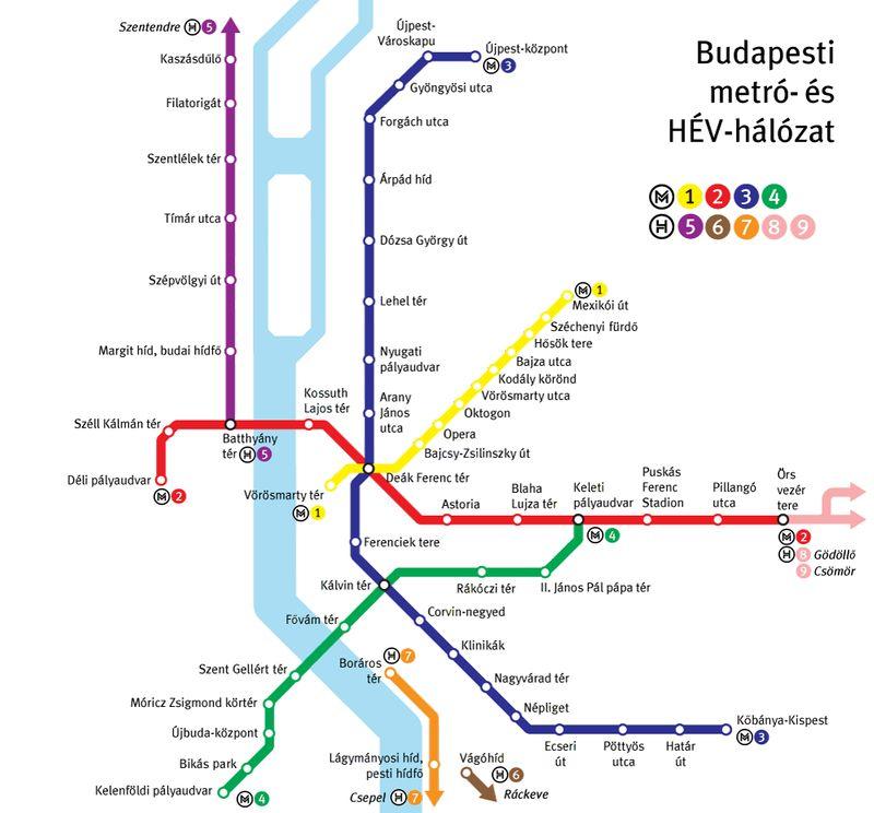 布達佩斯地鐵圖,在這個範圍內使用布達佩斯卡(Budapest card)可以無限搭乘大眾運輸。