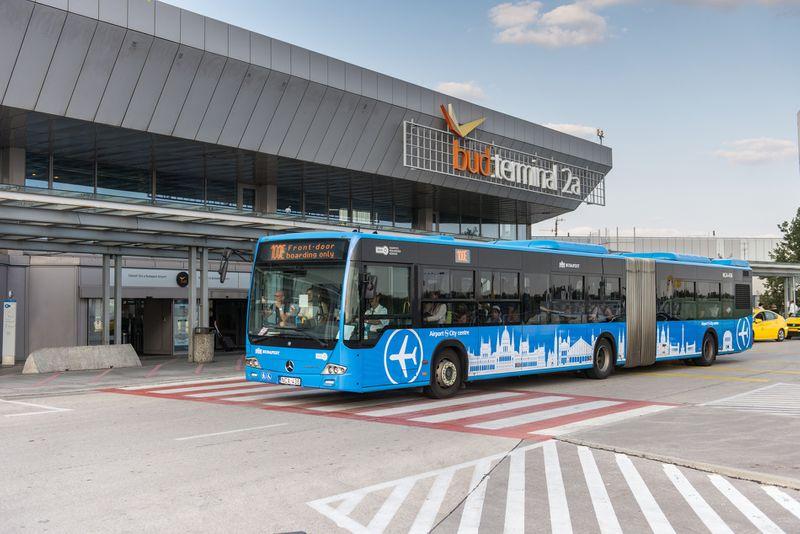機場巴士100E,車身有飛機圖案,往返市區很快速。HUF900/趟