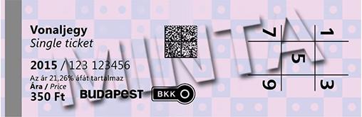 布達佩斯交通卡(Travel Card)的單程票。